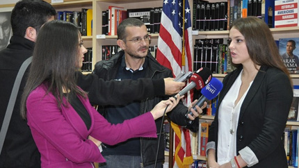 Sandra Vukcevic speaks to journalists