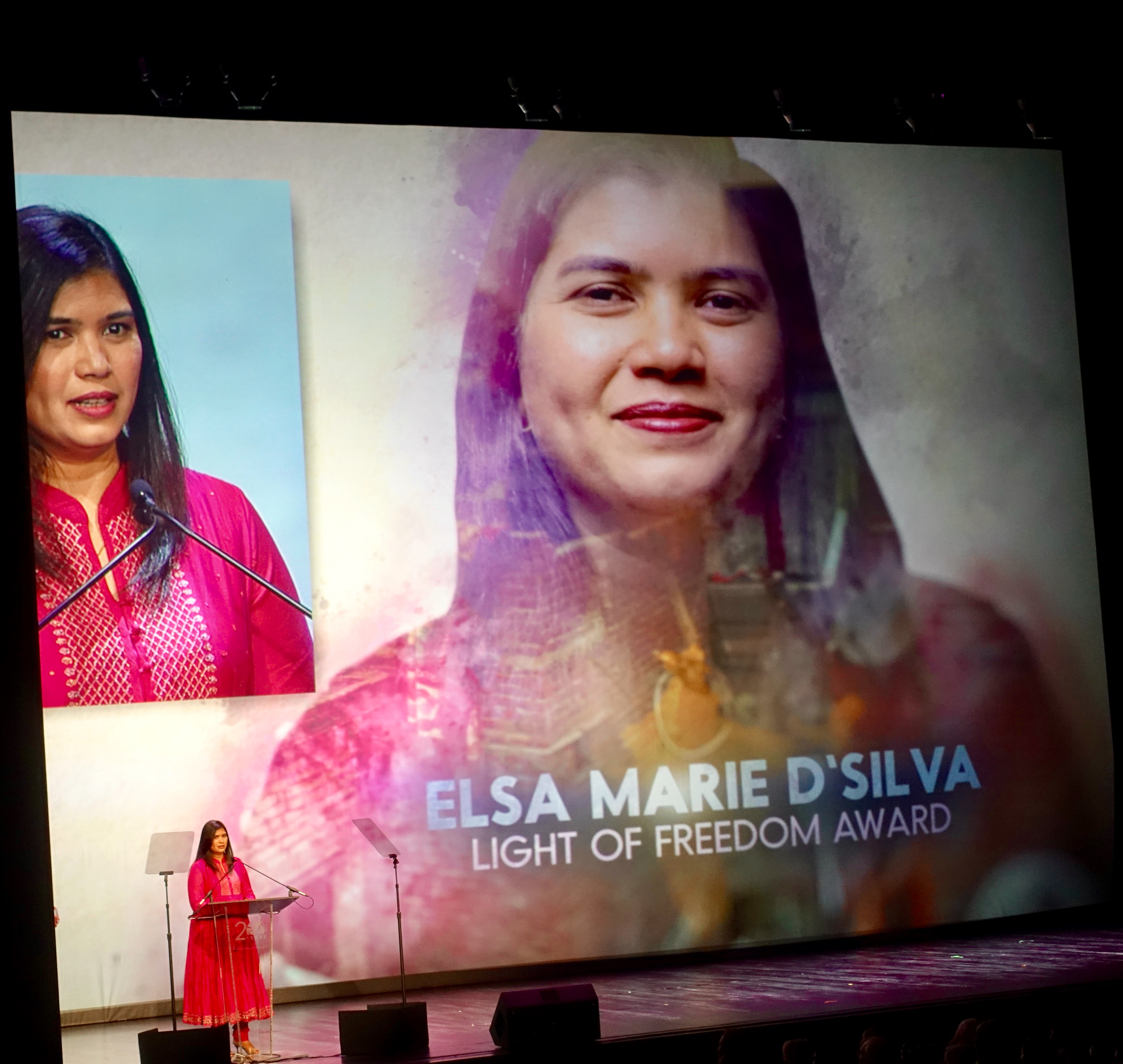 Elsa Marie D'Silva, Vital Voices Alumna and Research Scholar, accepting Light of Freedom Award