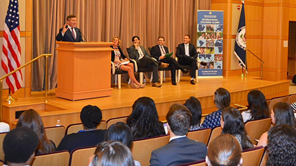 Assistant Secretary of State for Economic and Business Affairs Charles Rivkin speaks to International Exchange Alumni during the recent Career-Building Seminar.