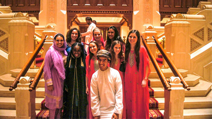 Alumnus C.J. Aragon, studying in Oman on a Boren Scholarship, meets with NSLI-Y academic year students at the Royal Opera House.
