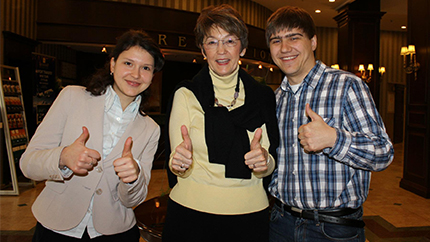 August 2014 Exchange Alumni Member of the Month, Daniel Voda (right), poses with friends.