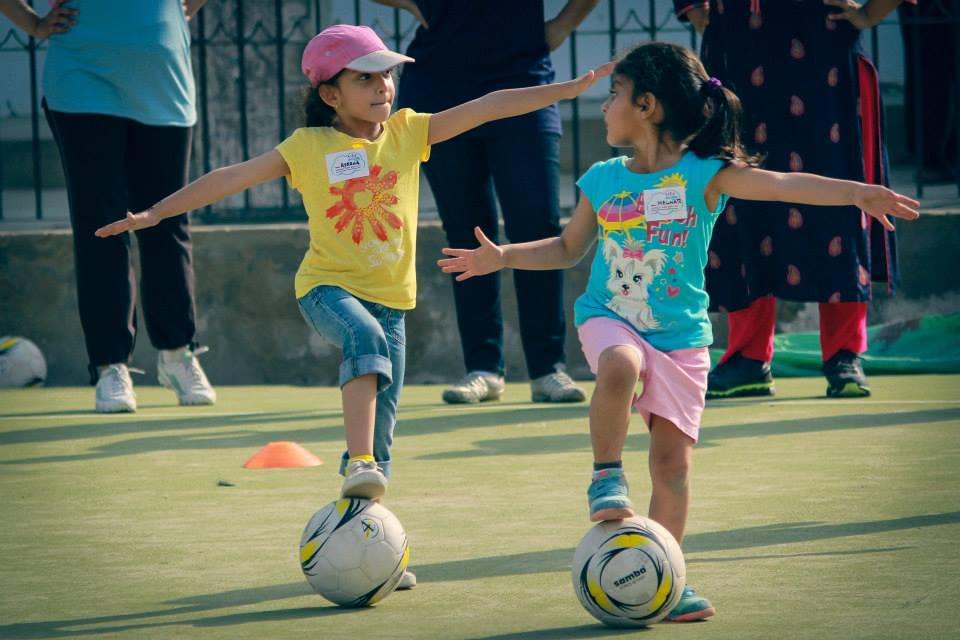 Two young players engage in a skills drill at a GO GIRL Pakistan camp