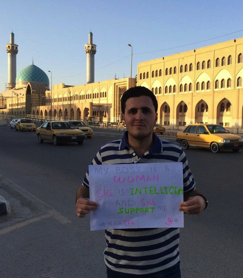 2011 IYLEP alumnus Mustafa Nazar supports #HeforShe, a United Nations gender equality social media campaign, while sharing a message of support for his female boss.