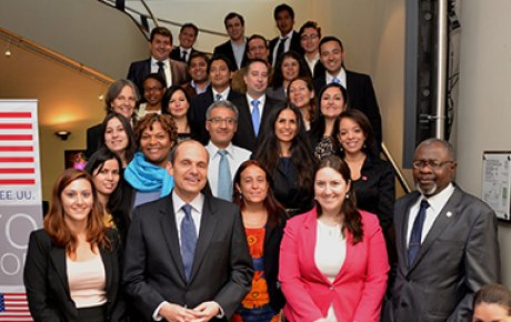 U.S. Ambassador Adam E. Namm poses with alumni from Fulbright, Humphrey, International Visitor Leadership Program (IVLP), Study of the U.S. Institutes (SUSI), and Youth Ambassadors.
