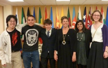 NSLI-Y alumni pose with Foreign Service Officer Bridget Gersten at a diplomatic reception for International Visitors in Boston. Pictured (L to R): Benjamin Chen, Raymond Fasano, Ryan Youkilis, Bridget Gersten (FSO), Jenna Bhaloo, and Sophie Klimasmith