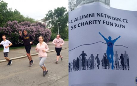 Young adults running and image of poster advertising the fun run