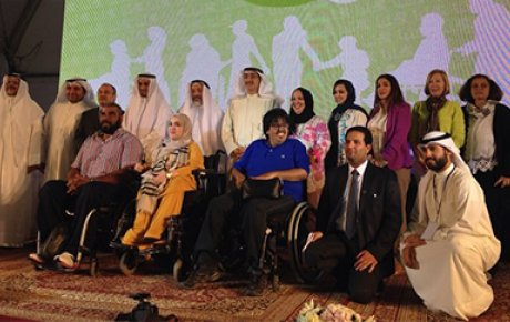 Nora Al-Othman, Training Gate International (TGI) State IVLP Alumni on Disability Rights (back row, fourth from right) and Abdul Aziz Al-Mutairi, Trainer at TGI, Employee at Kuwait University, and LDF Fellow (third from right in front) pose during the KEL