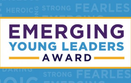 Title graphic on a blue background reads: Emerging Young Leaders Award