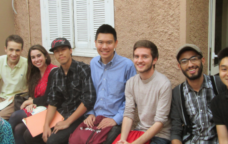 Kalyn and Nathan hanging out with their fellow students and friends in Morocco