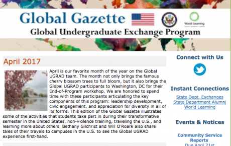 Screenshot of April 2017 Newsletter
