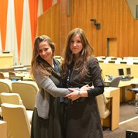 Viktoriya Luchka and Viktoriia Shvydchenko, Global UGRAD alumnae, serve as the first Ukrainian Youth Delegates to the 69th session of the United Nations General Assembly.