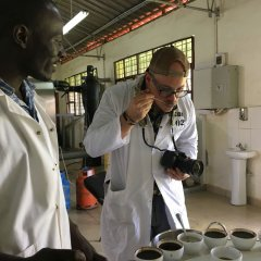 Tim McDonnell tasting coffee