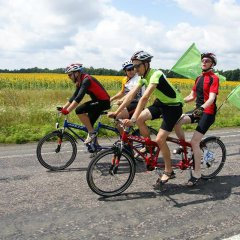 Four people riding on bikes in the sun