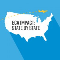 """ECA Impact: State by State"" superimposed on a map of the U.S. with the outline of a yellow plane flying across the image"