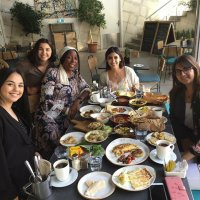 Dr. Lory Dance from the University of Nebraska-Lincoln joins her University of Jordan faculty partner Dr. Deema Ammari and students during her October 2018 trip to Amman, Jordan