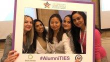 Five alumni at Alumni TIES in Almaty, Kazakhstan