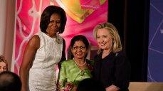 Photo of Secretary Clinton, Michelle Obama, and IWOC awardee