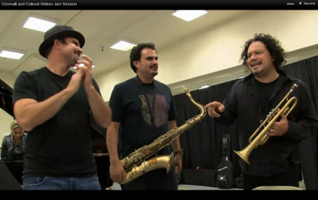 Jammin' with the American band, Ozomatli.